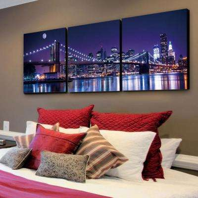 "24 in. x 72 in. ""NYC The City Never Sleeps"" Printed Wall Art"