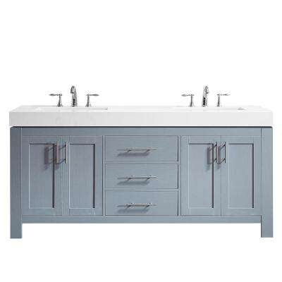 Essex 72 in. W x 22 in. D Bath Vanity in Grey with Quartz Vanity Top in White with White Basins