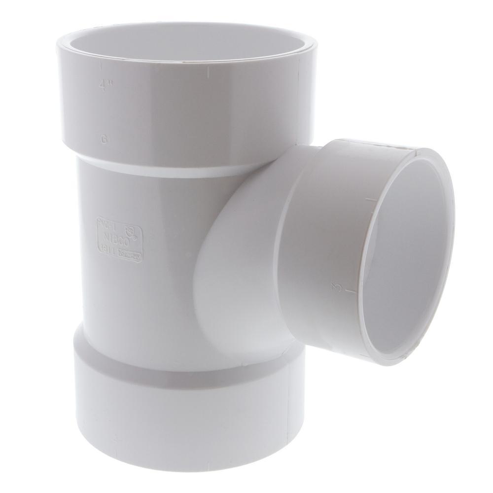 4 in. x 4 in. x 3 in. PVC DWV All Hub Sanitary Tee