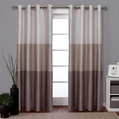 Chateau Taupe Striped Faux Silk Grommet Top Window Curtain