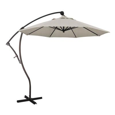 9 ft. Bronze Aluminum Cantilever Patio Umbrella with Crank Open 360  Rotation in Woven Granite Olefin