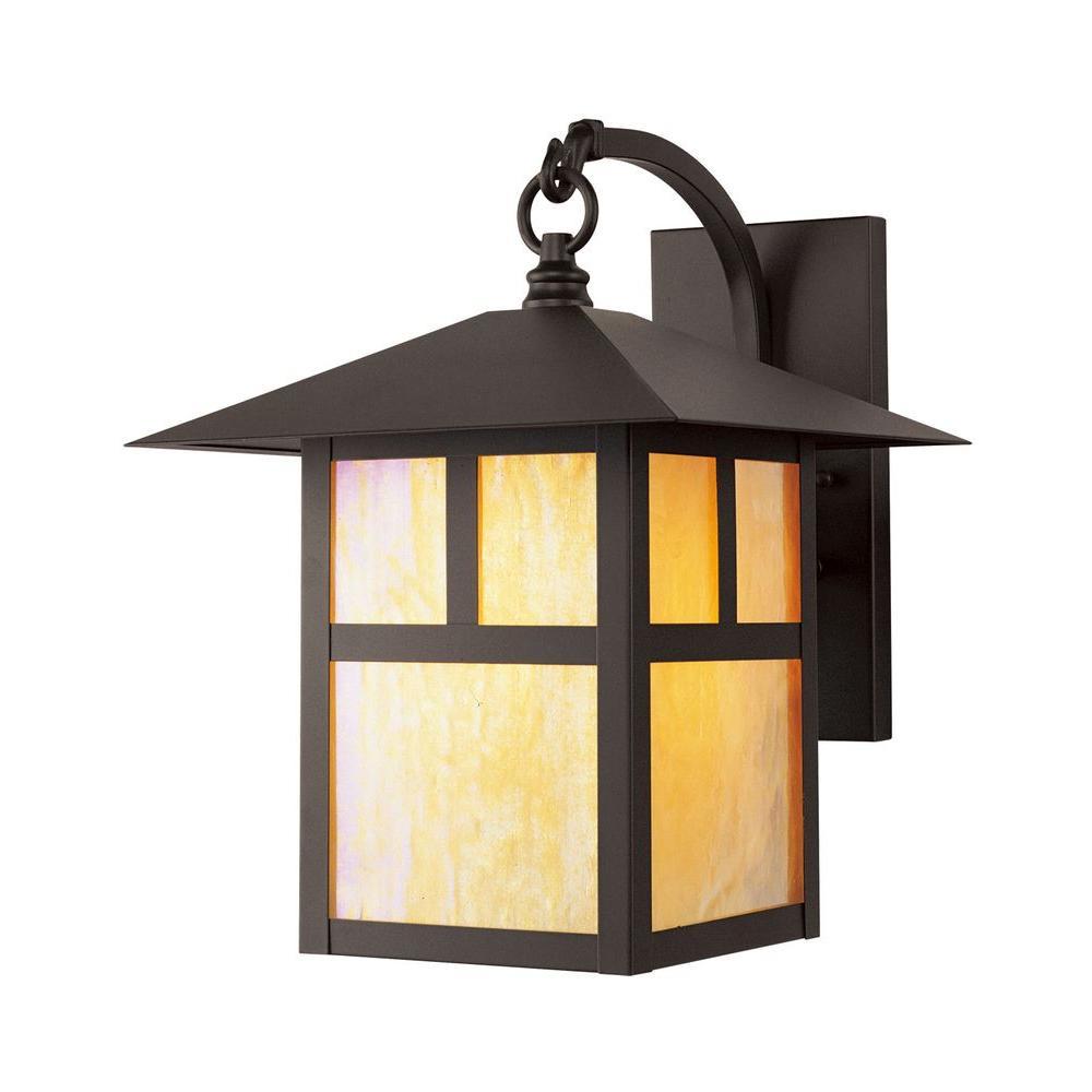 Livex Lighting Providence 1-Light Bronze Iridescent Outdoor Tiffany Glass Wall Lantern