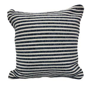 Loraine Blue / White Striped Soft Polyfill 22 in. x 22 in. Throw Pillow