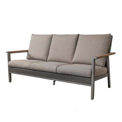 Metal Outdoor Couch with Gray Cushions