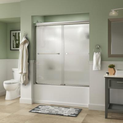 Everly 60 in. x 58-1/8 in. Traditional Semi-Frameless Sliding Bathtub Door in Chrome and 1/4 in. (6mm) Rain Glass