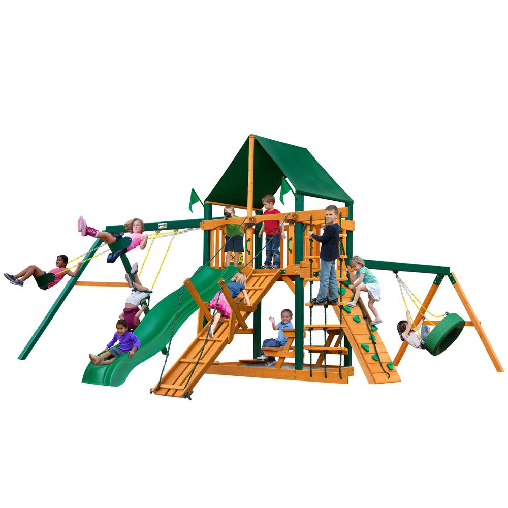 Gorilla Playsets Frontier Wooden Swing Set with Sunbrella Canvas Canopy, Timber Shield Posts and Tire Swing