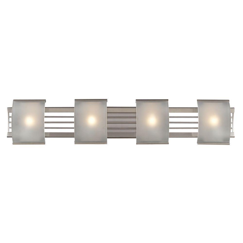 Titan Lighting 4-Light Brushed Nickel Wall Mount Bath Bar