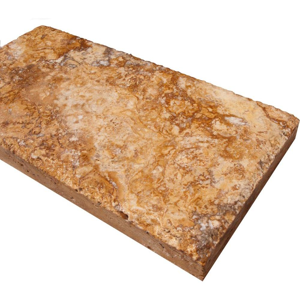 Versailles Gold 6 in. x 12 in. Honed-Unfilled Travertine Paver Tile