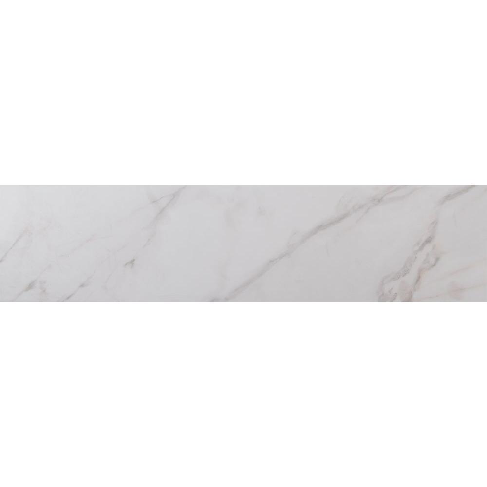 White glazed porcelain floor tile