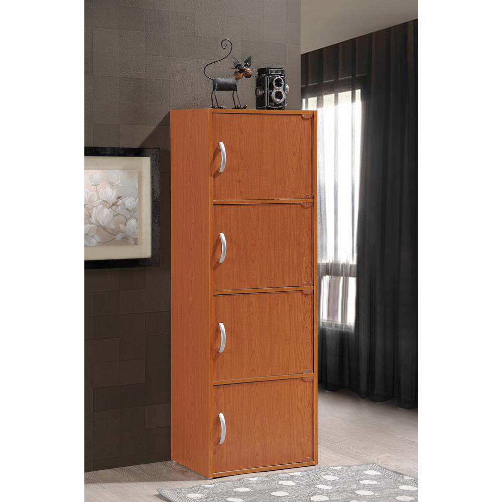Hodedah 4 Shelf 47 In H Cherry Bookcase With Doors Hid4
