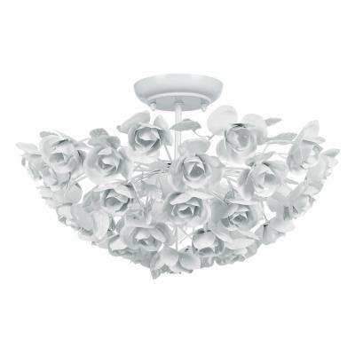 Cypress 3-Light White Semi-Flush Mount