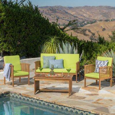4-Piece Wood Conversation Set with Light Green Cushions