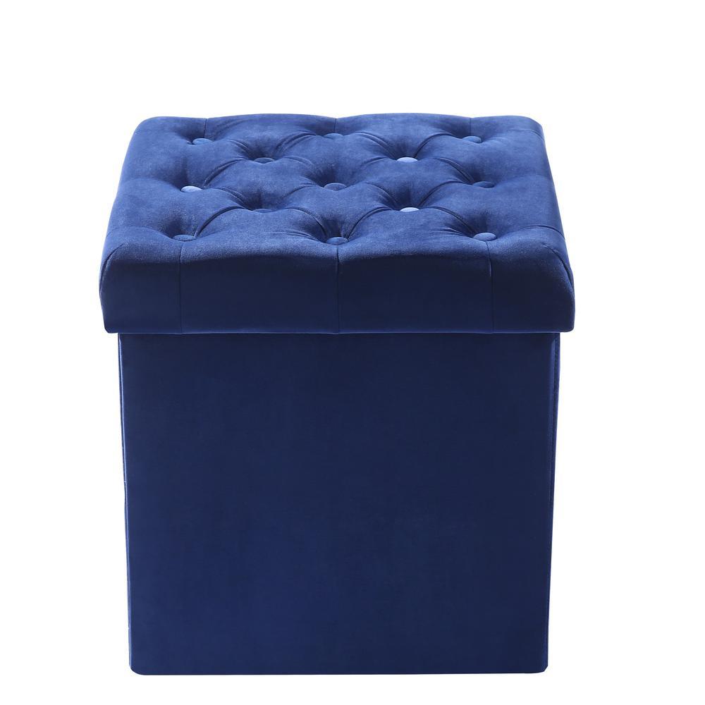 Cool Poly And Bark Lauren Velvet Blue Cube Storage Ottoman Hd 360 Ncnpc Chair Design For Home Ncnpcorg