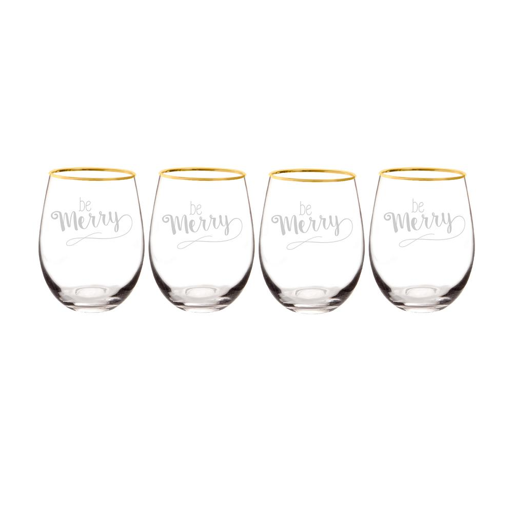 Cathy's Concepts Be Merry 2.9 in. x 4.7 in. Gold Rim Christmas Stemless Wine Glasses was $70.0 now $45.82 (35.0% off)