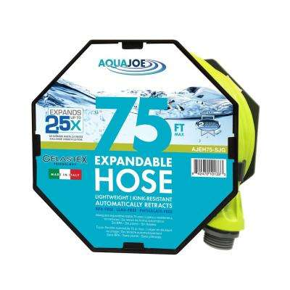 Aqua Joe 3/4 in. x 75 ft. Expandable Lightweight Kink-Free Hose, Lead-free, BPA-free