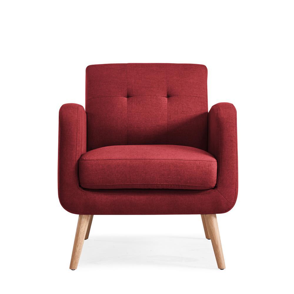 Kingston Burgundy Red Linen Mid Century Modern Arm Chair
