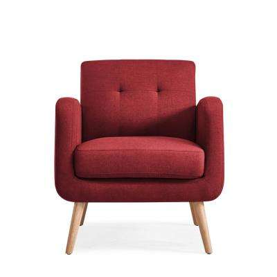 Kingston Burgundy Red Linen Mid Century Modern Arm Chair