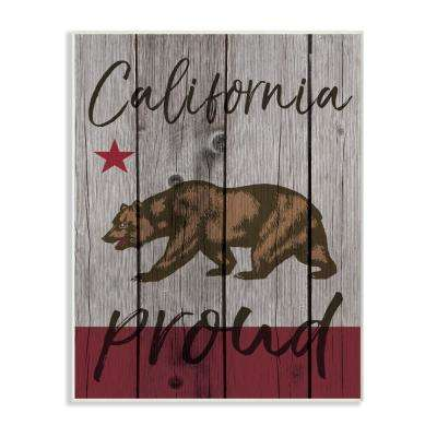 "10 in. x 15 in. ""California Proud Typography"" by Daphne Polselli Printed Wood Wall Art"