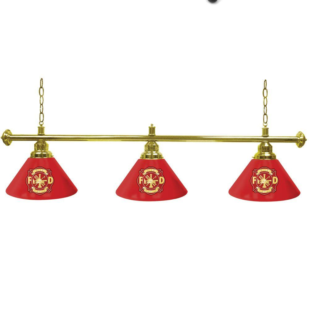Trademark Global Fire Fighter 60 in. Three Shade Gold Hanging Billiard Lamp