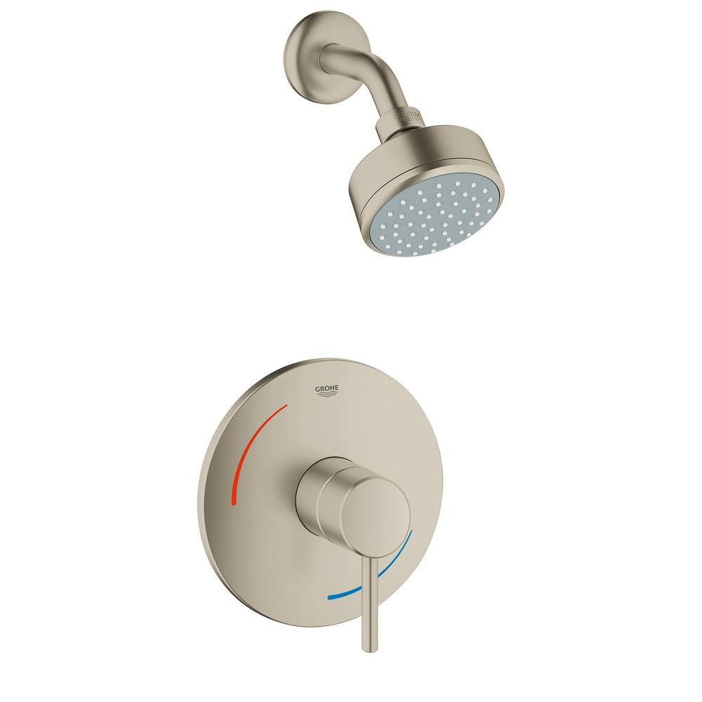 Grohe Concetto 1 Handle 1 Spray Tub And Shower Faucet In Brushed Nickel Valve Not Included