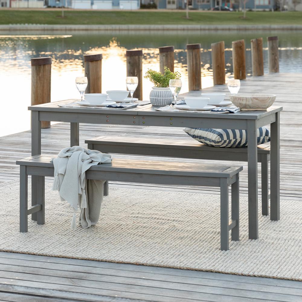 Grey Wash 3-Piece Simple Wood Outdoor Patio Dining Set