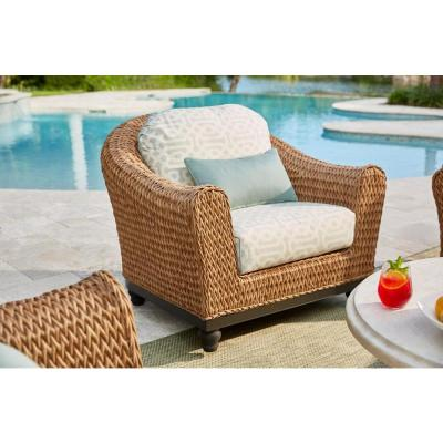 Camden Light Brown Seagrass Wicker Outdoor Patio Lounge Chair w/ Sunbrella Cast Spa & Fretwork Mist Cushions (2-Pack)