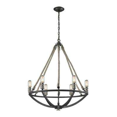 Natural Rope 6-Light Silvered Graphite/Brushed Nickel Accents Chandelier