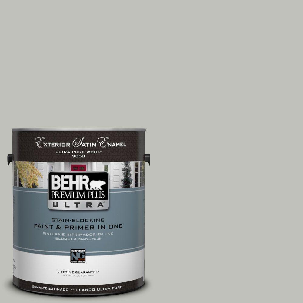 BEHR Premium Plus Ultra 1-Gal. #UL210-8 Silver Sage Satin Enamel Exterior Paint