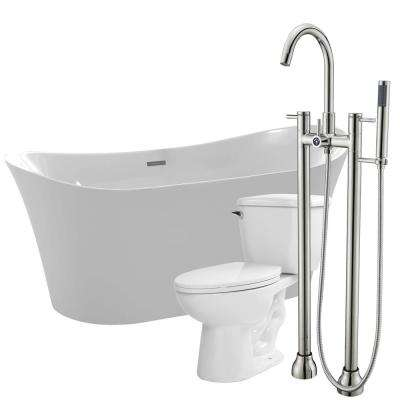 Eft 67 in. Acrylic Flatbottom Non-Whirlpool Bathtub in White with Sol Faucet and Kame 1.28 GPF Toilet