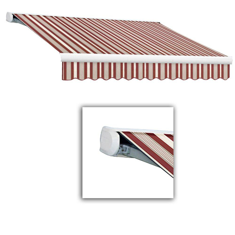 AWNTECH 20 ft. Key West Full-Cassette Left Motor Retractable Awning with Remote (120 in. Projection) in Burgundy/Gray/White