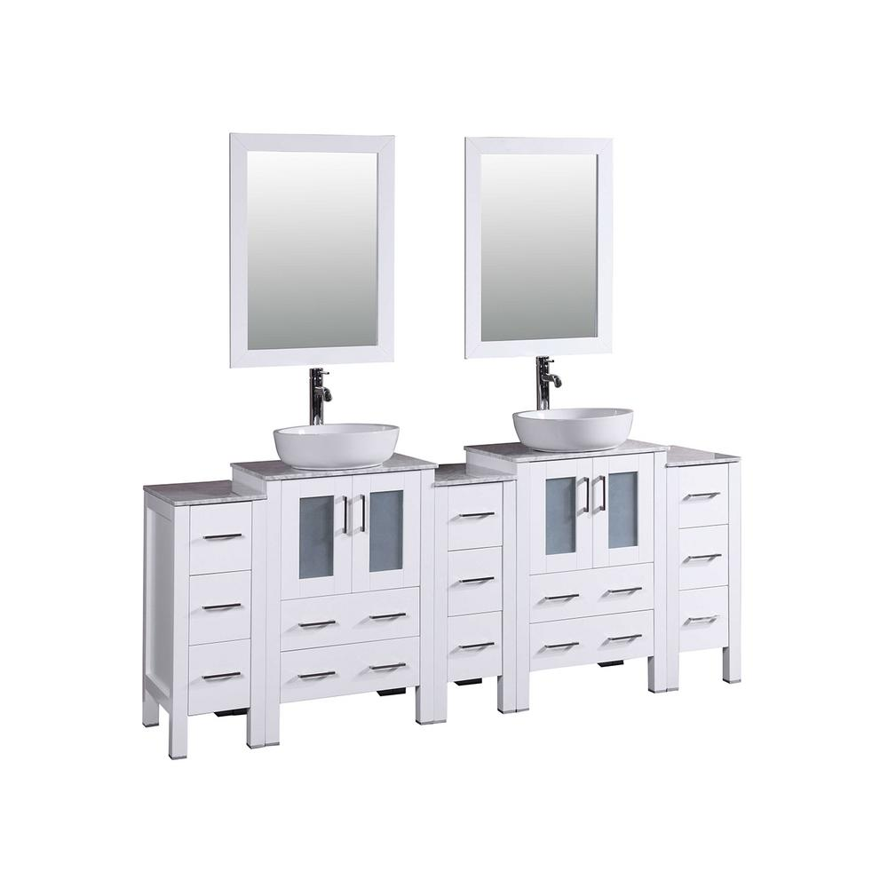 Bosconi 84 in. W Double Bath Vanity in White with Carrara Marble Vanity Top with White Basin and Mirror