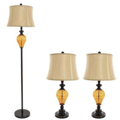 65 in. Amber Glass Lamp Set (3-Piece)