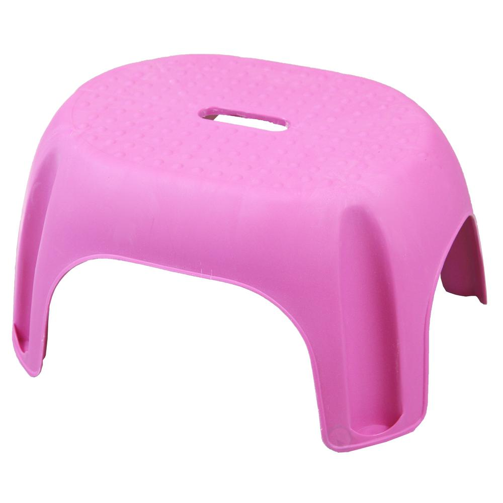 Basicwise 8 5 In H Pink Plastic Step Stool Qi003258p