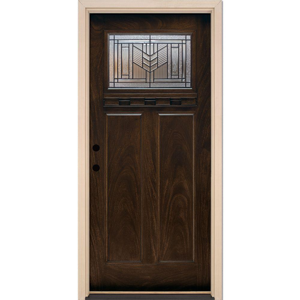 Feather river doors 37 5 in x in phoenix patina for Front door with top window