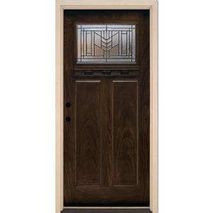 37.5 in. x 81.625 in. Phoenix Patina Craftsman Stained Chestnut Mahogany Right-Hand
