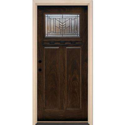37.5 in. x 81.625 in. Phoenix Patina Craftsman Stained Chestnut Mahogany Right-Hand Fiberglass Prehung Front Door