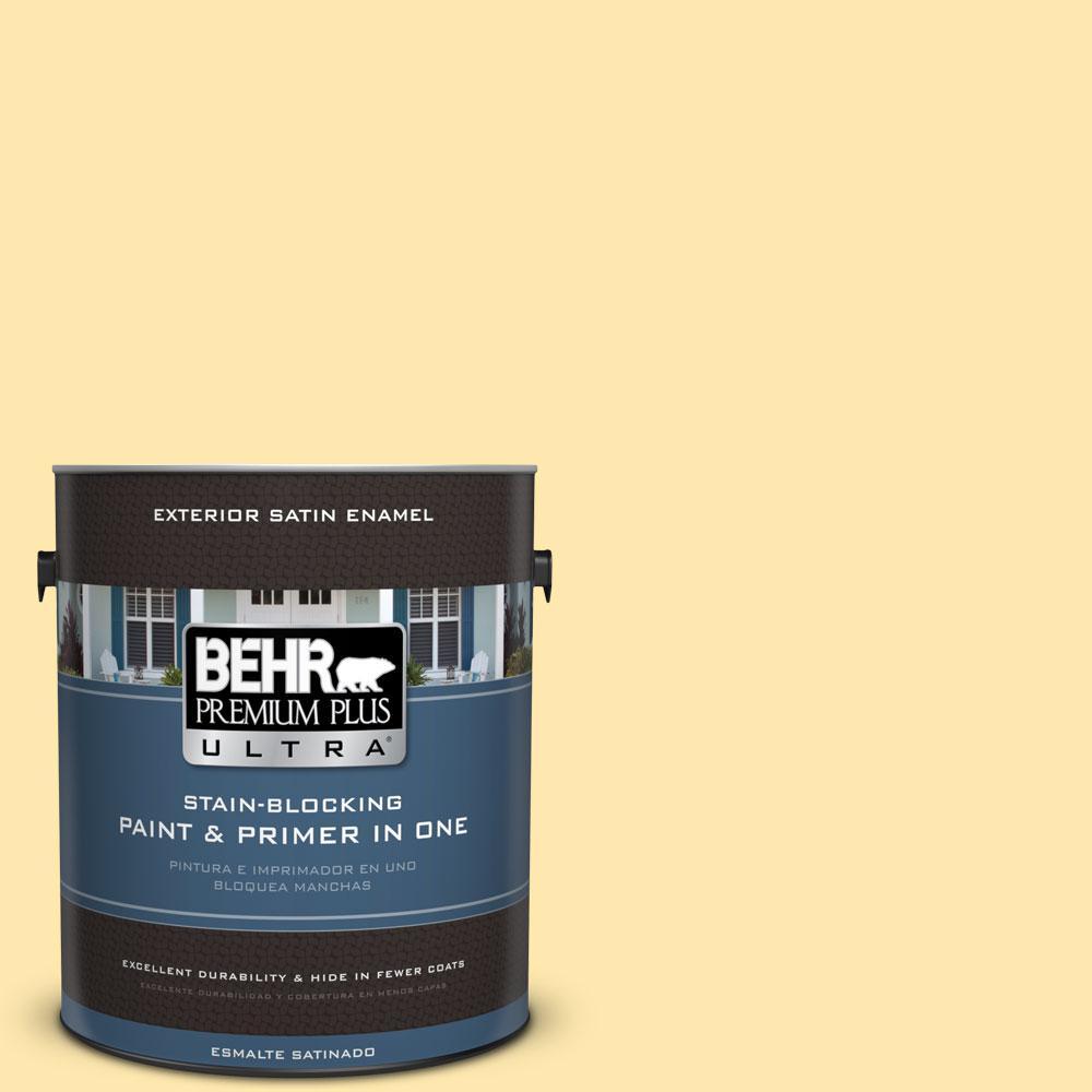 BEHR Premium Plus Ultra 1-gal. #350B-4 Lemon Souffle Satin Enamel Exterior Paint