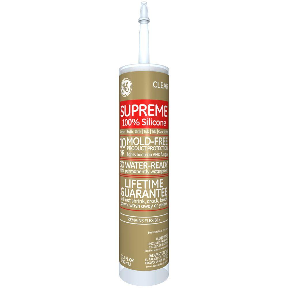 ge supreme silicone 10 1 oz clear kitchen and bath caulk m90006 30 12c the home depot