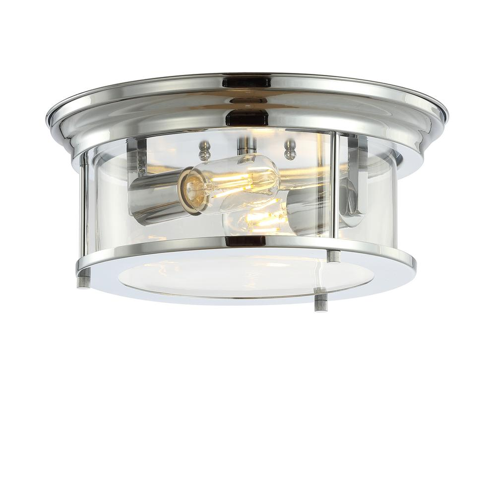 JONATHAN Y Lauren 13.25 in. Chrome Metal/Glass LED Flush Mount