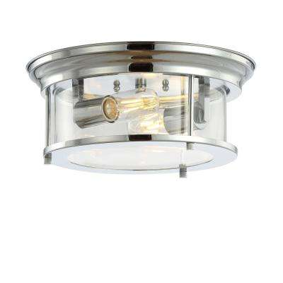 Lauren 13.25 in. Chrome Metal/Glass LED Flush Mount