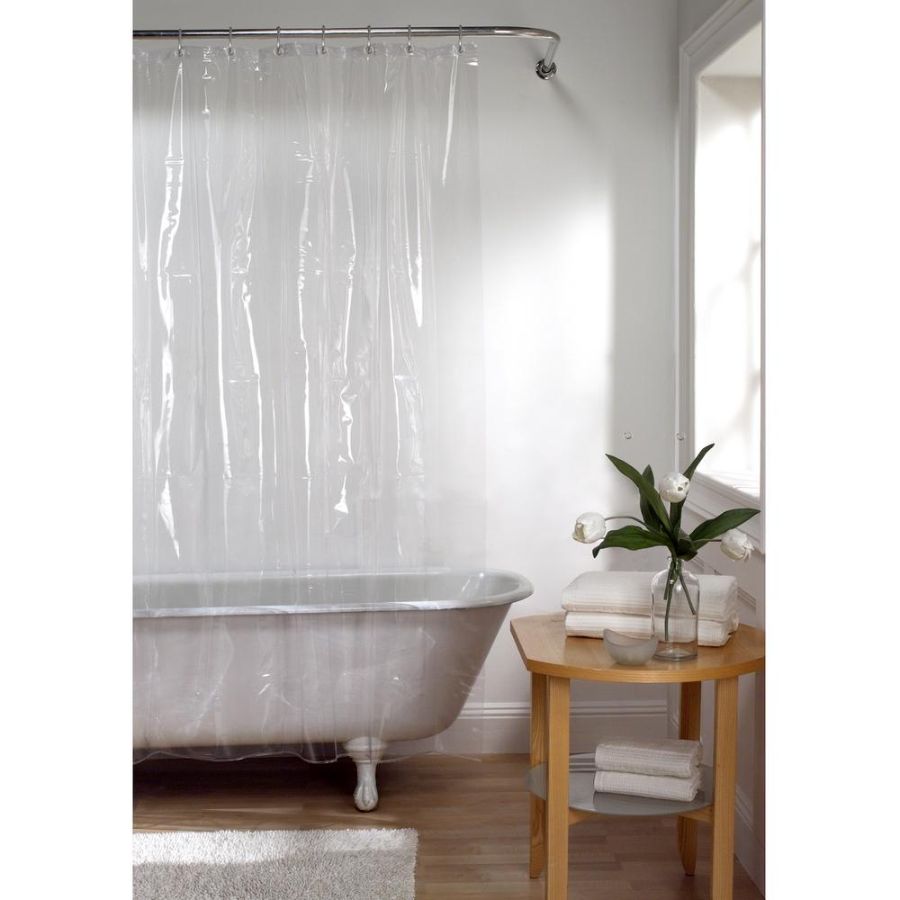 Zenna Home 70 In X 72 In Premium Clear Super Heavyweight 10 Gauge Shower Curtain Liner 71130yclr The Home Depot