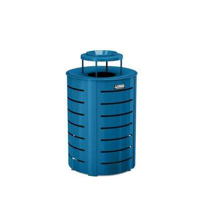 35 Gal. Blue Metal Commercial Trash Can with Lid