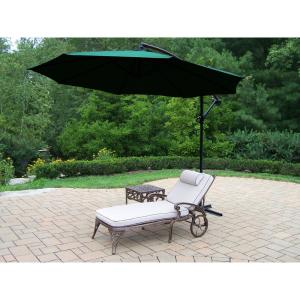 3-Piece Aluminum Patio Chaise Lounge Set with Tan Cushions and Green Umbrella by