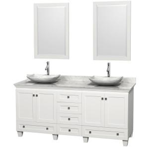 Wyndham Collection Acclaim 72 inch W Double Vanity in White with Marble Vanity... by Wyndham Collection