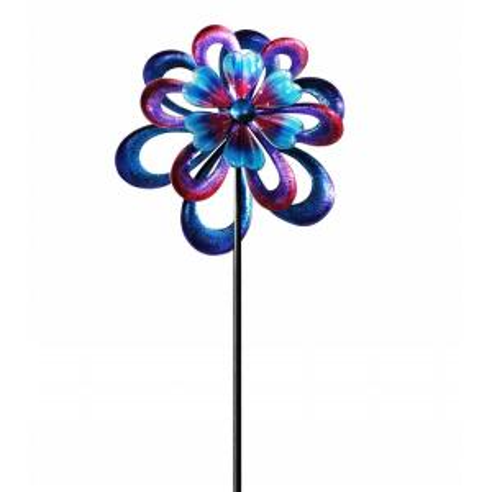 Alpine 94 inch Metal Round Flower Spinning Garden Stake by Alpine