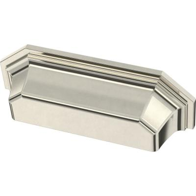 Faceted 3 in. (76 mm) Polished Nickel Cup Drawer Pull