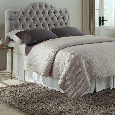Martinique Twin Upholstered Adjustable Headboard Panel with Solid Wood Frame and Button-Tufted Design in Putty Finish