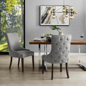 Phenomenal Inspired Home Piper Light Grey Linen Nailhead Armless Dining Gmtry Best Dining Table And Chair Ideas Images Gmtryco