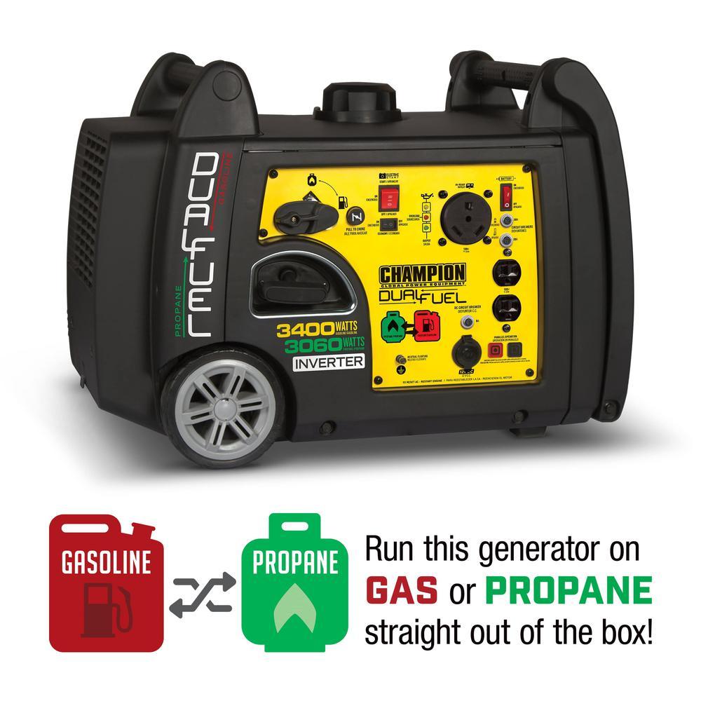Champion Equipment 3400 Watt Dual Fuel Ed Electric Start Port Inverter Generator With 192