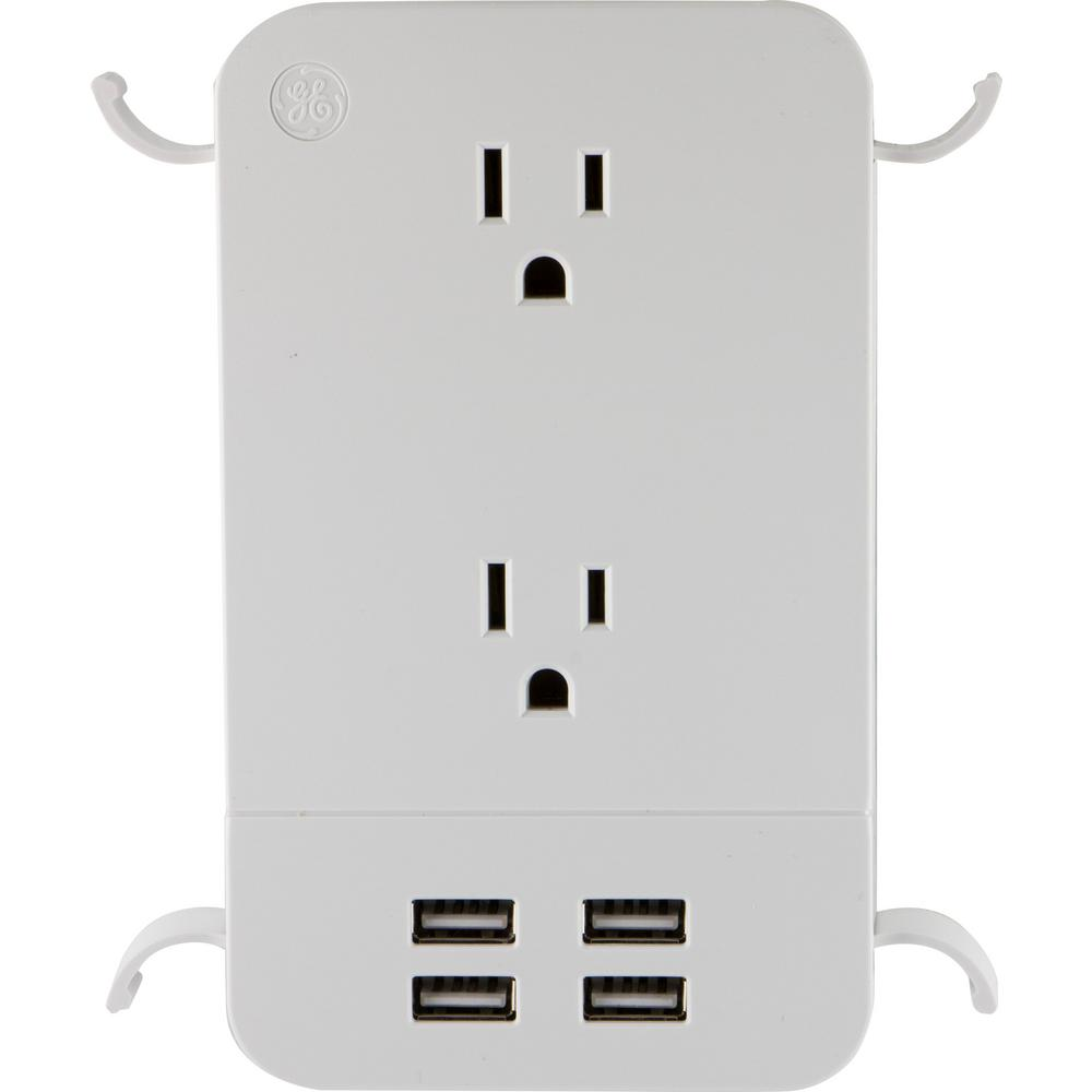 UltraPro 2-Outlet 4 USB Surge Protector Tap with Cable Management in
